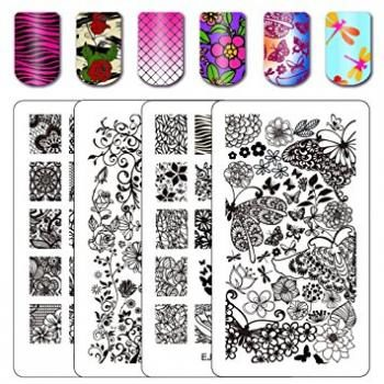 Ejiubas Double Sided Flower Nail Stamping Plates Wonders Of Life Art Image Plate
